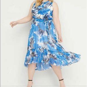 Lane Bryant Blue Palm Print  Chiffon Midi Dress